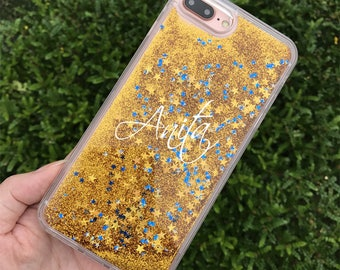 Personalized Liquid Glitter case CustomName Sparkle Clear Hard Case with Soft Bumper for iPhone 7 iPhone 7 Plus iPhone 6/6S iPhone 6/6s Plus