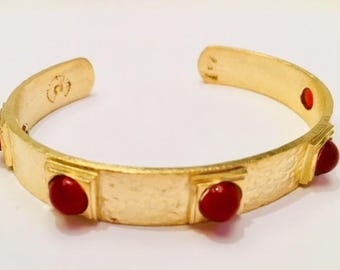 Silver Bangle Bracelet sterling rhodium gold stone carnelian