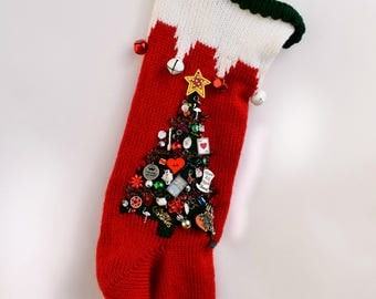 Personalized Hand Knit Christmas Stocking Extra Large