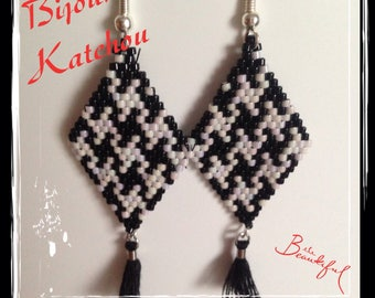 Brick stitch black and white earrings
