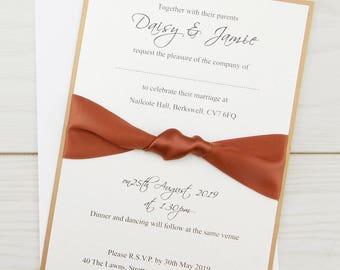 SAMPLE * Knotted Ribbon Parcel Wedding Invitation