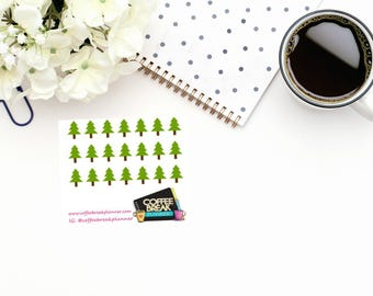 Planner Stickers |Camping Tree Stickers| Tree Stickers|Outdoor Stickers|Garden Stickers|Landscaping Stickers|Mini Sheet Camping Trees