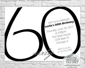 60th Birthday Invitation, Adult Birthday Party Invitation, Modern Invitation, Simple Invitation, Minimalist Invitation, Adult Party Invite