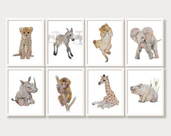 Jungle Nursery Art Zoo Animals Safari Nursery Wall Art Nursery Printable Set of Prints Digital Download Watercolor Painting Baby Girl Boy