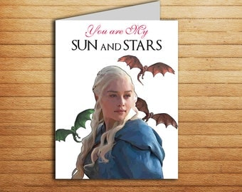 Game of Thrones Card Sun and Stars Card Printable Khaleesi and Khal Drogo Birthday Anniversary gifts for boyfriend Love card Any Occasion