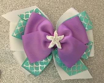 Little Mermaid Bow Ariel Hair Bow with Rhinestone Starfish Purple Mermaid Bow Disney Princess Bow Aqua Mermaid Bow with Fish Scale Ribbon