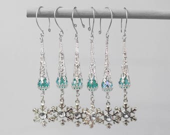 Icy Blue and Snowflake Beaded Christmas Holiday Ornaments, set of 6