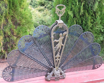 Vintage Brass Folding Peacock Fan Fireguard Screen Goddess Art Nouveau Asain