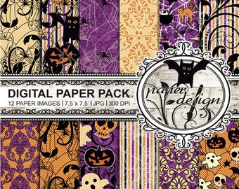 Digital paper pack Halloween, the background, the scrapbook 'SALE' download, printable paper, black, purple, orange, violet #07