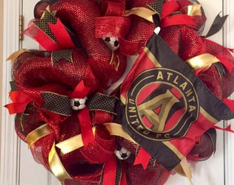 Atlanta United Wreath, Atlanta United Decor, MLS Soccer Wreath, Soccer Wreath, Atlanta United Decoration, Atlanta United Mesh Wreath, ATLUTD