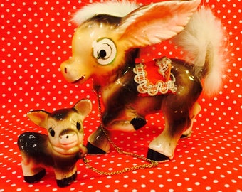 Anthropomorphic Pair of Donkey Figurines connected by Chain made in Japan circa 1950s
