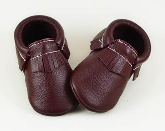 ON SALE! Baby Moccasins Maroon Oxblood Wine Handmade Moccs Genuine Leather Soft Soled Shoes Infants Toddlers Girls Boys Prewalker Booties