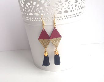 Graphic geometric earrings in Burgundy leather, gold glitter and black style tassels ethnic