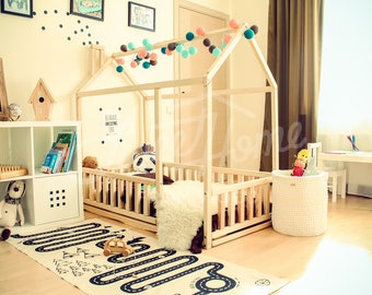 montessori bett etsy. Black Bedroom Furniture Sets. Home Design Ideas