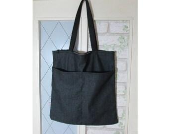 Jeans bag zipper black long handle
