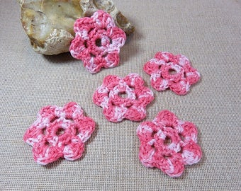 5pcs, flowers crocheted flowers gradient light pink, applied hand-made, flowers, 100% cotton, sew on patch 45mm flowers