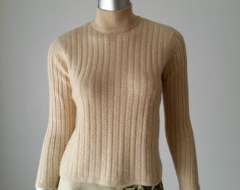 Early 90s Talbot Cashmere Sweater | Mock Neck Sweater | Mary Tyler Moore | Beige Knit Sweater | Talbots Petites |  XS Vintage |