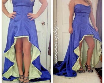 Gown wedding gown prom dress formal purple green dress fashion colourful dresses