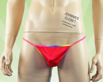 Mens Gay Pride G string with Rainbow Trim Red