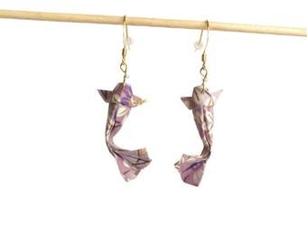 Jewelry, origami, Japanese carp koi in earrings, hooks, origami japanese fish koi carp earrings
