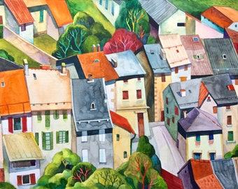ORIGINAL Village roofs watercolor, cityscape, illustration, botanical art, gift, wall decor