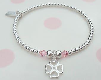 Four Leaf Clover Bracelet, Sterling Silver, Four Leaf Clover, Good Luck Charm, Clover, Gift For Her, Bridesmaid Gift, Flower Girl Gift