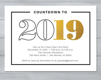 New Year's Eve Party Invitation  |  New Year's Invitation  |  Countdown to 2019 New Year's Invitation