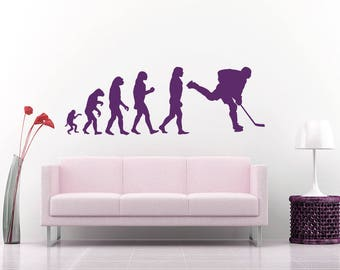 Wall Decal Human Evolution Anatomy Man Cave Evolve Exrtreme Sports Hockey Club Logo Player Children Room Vinyl Sticker Home Decor Mural A484