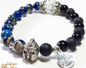 Men's Bead Bracelet, Blue Jasper Bead Bracelet, Onyx Stone Bracelet, Silver Plated Spartan Helmet, 8mm Bead Bracelet, Handmade Bead Bracelet