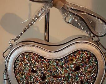 Women silver multi colour rhinestone  crossbody shoulder handbag with gold chain strap