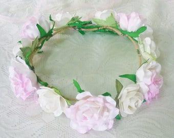 Big flower crown Pastel rose headband /sweet white Pink flower headpiece /floral headpiece/ flower crown ribbon tie back