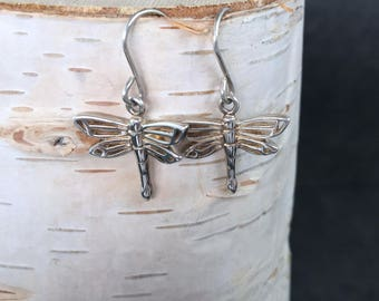 FREE GIFT BOX, Sterling Silver, OpenWork, Dragonfly Earrings, Bug, Insect, 925, Silver, Free gift wrapping