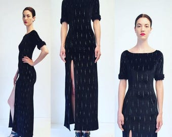 Weekend25%OFF Vtg 80s Black Velvet Faux Fur Silver Maxi Glam Dress