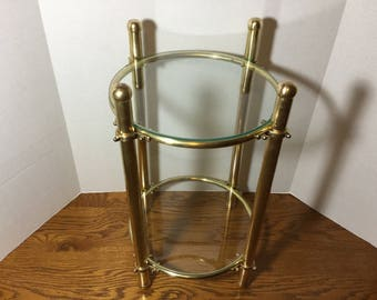 Brass And Glass Small Table, Two Tier Round Solid Brass Accent Table,  Assembly Required