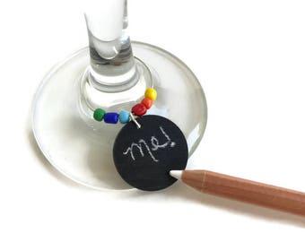 Rainbow Wine Glass Charms, Chalkboard Wine Charms, Chalkboard Wine Glass Charm, Colorful Rainbow Adult Party Favor, LGBT Wedding Favors