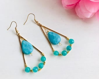 Long earrings, earrings with turquoise stones, drop earrings and stones, drop-shaped earrings, drop earrings and turquoise stones
