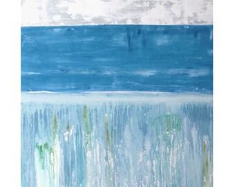 Awash Watery Beach landscape Abstract original painting wall art modern MCM wall decor art Atomic Ranch Paul Ashby
