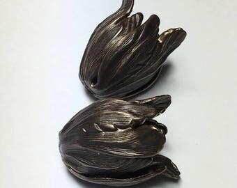 Flourish Petal Bead Cap, 14 x 22mm, natural brass, Vintaj brand, 2 pieces