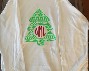 Christmas shirts Christmas tree monogram Jolliest bunch of a**hole* this side of bunch shirts