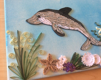 Artwork Quilled Dolphin Jumping Up From the Ocean, Quilled on Canvas, Handmade, Sea, Unique Gift