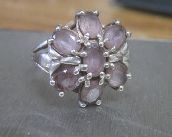 Sterling silver ring with purple Flower