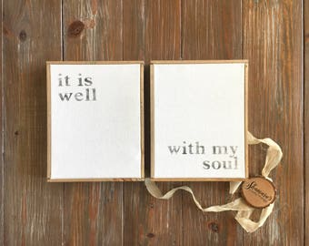 It is well with my soul canvas set - 2 piece canvas - simple canvas with words - minimalist wall hanging - it is well - distressed text