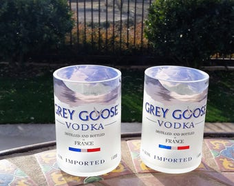 Two Grey Goose Vodka Rocks Glasses / Glass Tumblers / High Ball Glasses / Grey Goose Gifts / Vodka Gifts / Low Ball Liquor Bottle Glasses