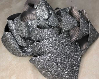 Triple Stacked Silver Glitter Bow