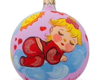 "4"" Girl Sleeping on Clouds Glass Ball Baby's First Christmas Ornament"