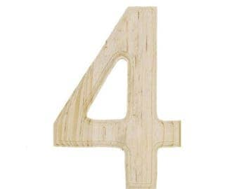 """6"""" Blank Unfinished Wooden Number 4 (Four)"""