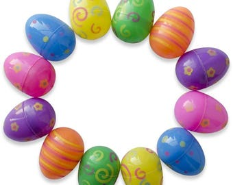 12 Bright Pattern Plastic Easter Eggs