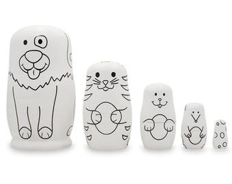 """4.75"""" Set of 5 Animals- Dog, Cat, Bunny, Mouse Unpainted Wooden Russian Nesting Dolls"""