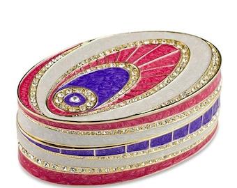 "4.5"" (L) Faberge Crystal Eye Enameled Jewelry Trinket Box"