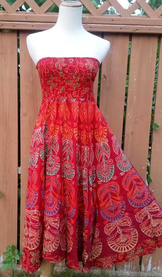 XS/S/M/L/XL Mandala Block print Hippie Dress/Bohemian dress/Gypsy dress/summer dress/vintage style dress/beach coverup/strapless dress
